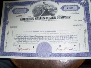 Northern States Power Company Specimen Stock Cert, photo
