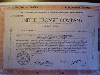 United Transit Company 4 Certificates photo