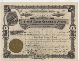 1927 Central Copper Company Of Arizona Stock Certificate 125 Shares photo