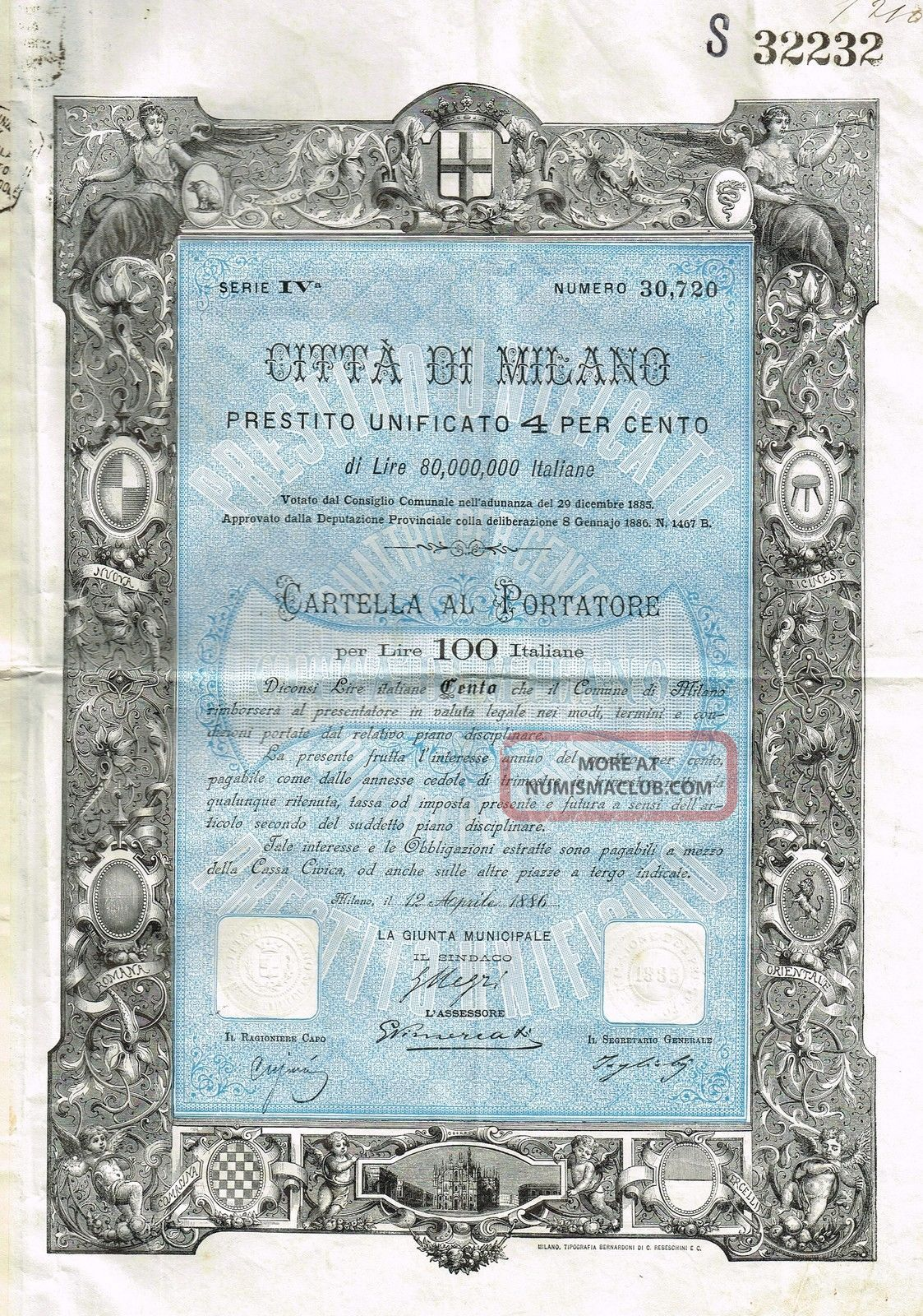 Italy City Of Milan Bond Stock Certificate 1886 W/coupons World photo