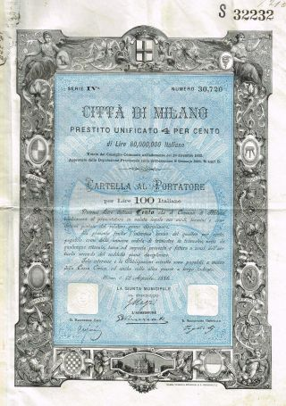 Italy City Of Milan Bond Stock Certificate 1886 W/coupons photo