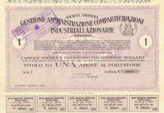 Italy City Of Torino Industry Stock Certificate 1928 1 Sh photo