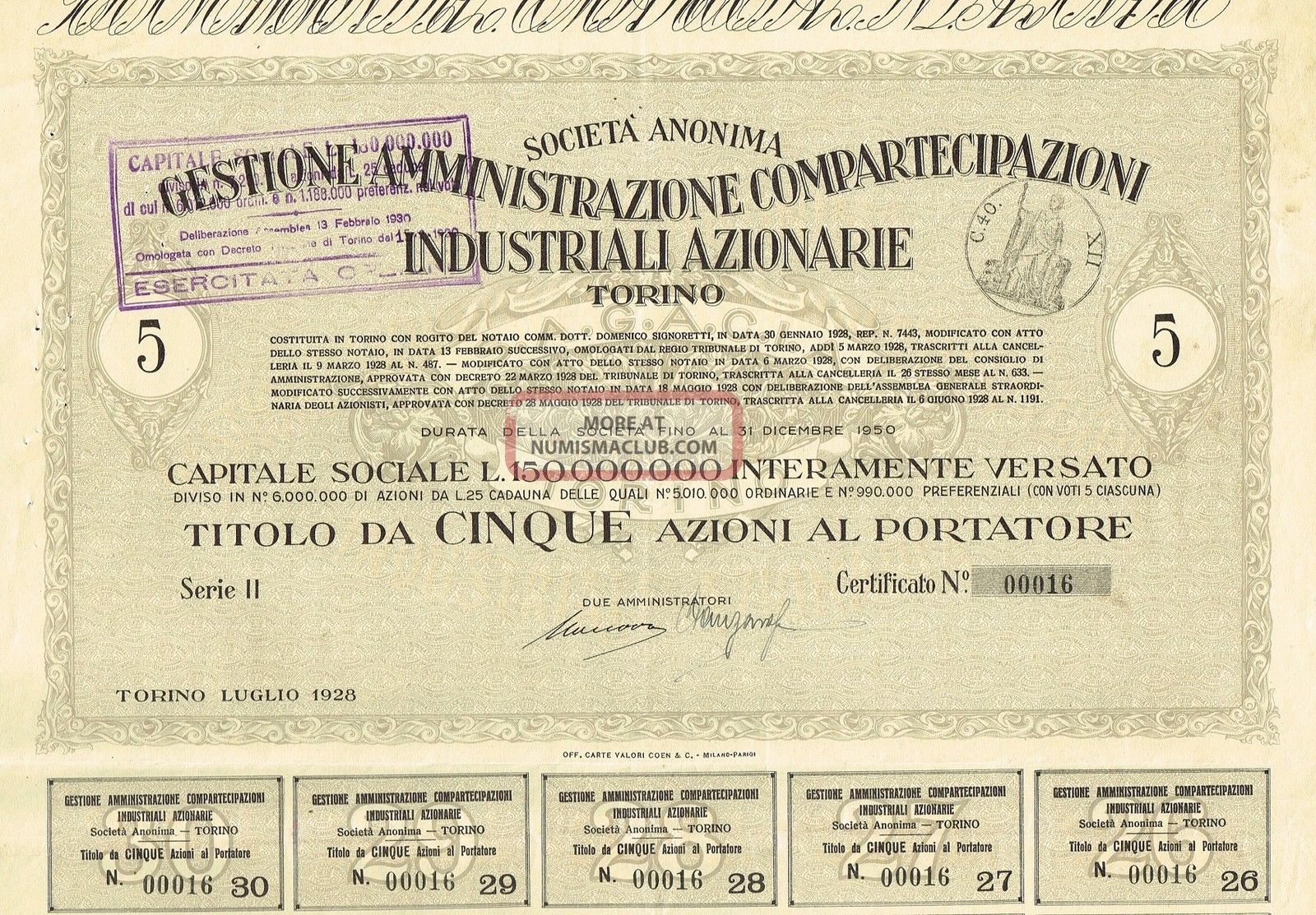 Italy City Of Torino Industry Stock Certificate 1928 5 Sh World photo