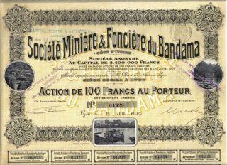 Africa France Colonial 1911 Bond Land & Mining Bandama 100 Uncancelled Deco Coup photo