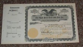 Hyde Park Lead And Zinc Stock Certificate 190? photo