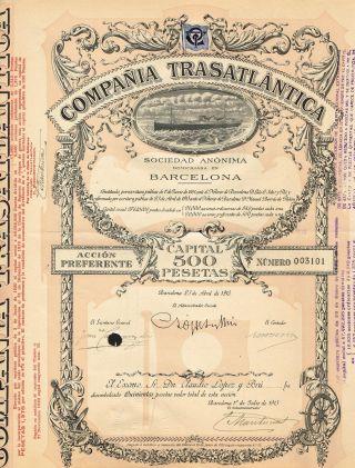 Spain Transatlantic Company Bond Stock Certificate 1913 photo