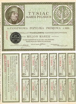 Poland State Loan Of 1920 Stock Certificate W/coupons photo