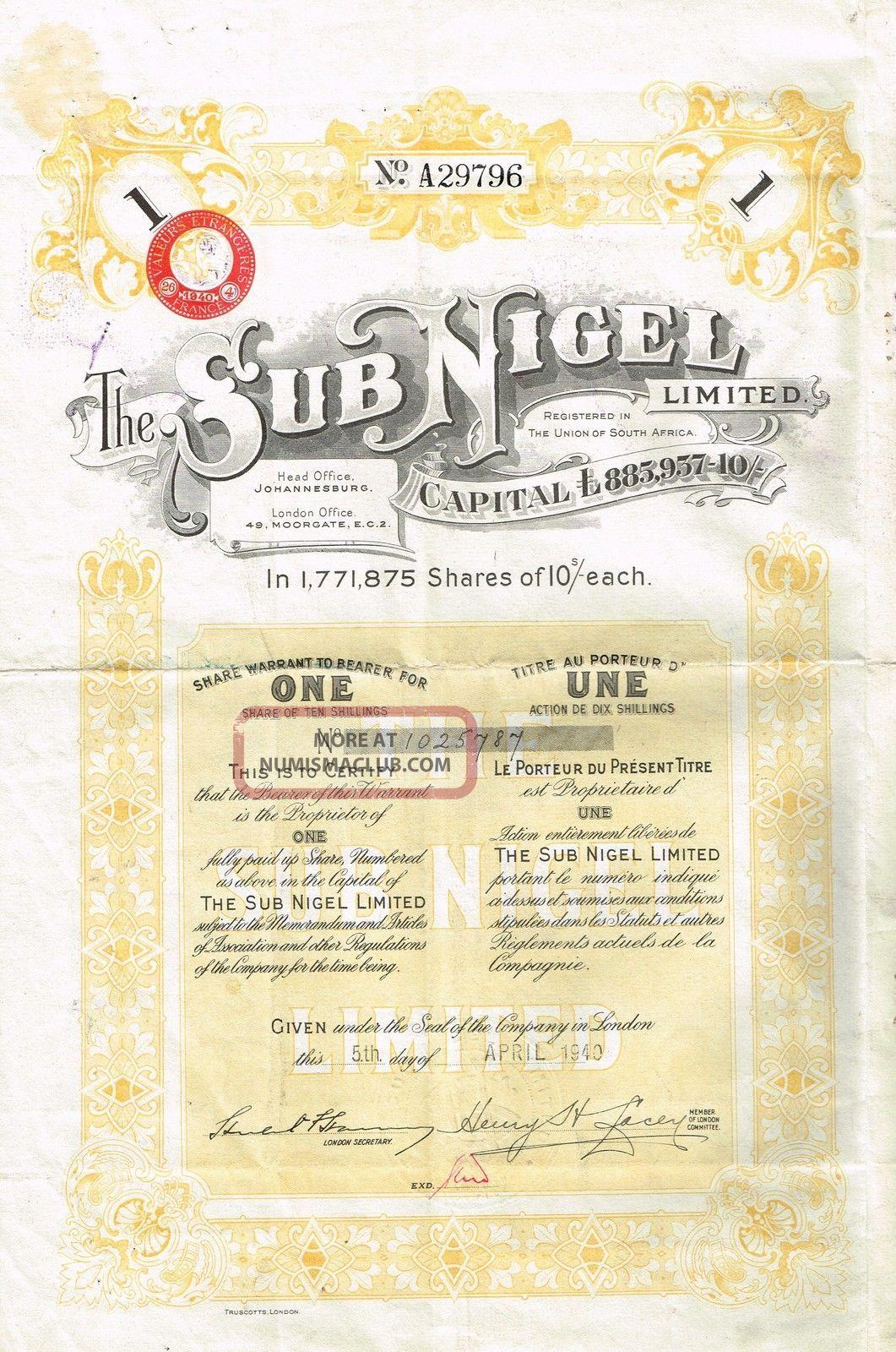 South Africa Sub Nigel Gold Mine Company Stock Certificate World photo