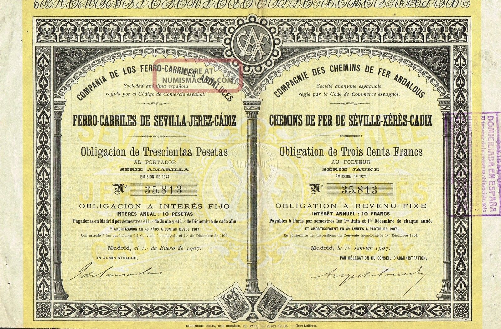 Spain Sevilla - Jerez - Cadiz Railway Company Stock Certificate 1907 W/coupons World photo