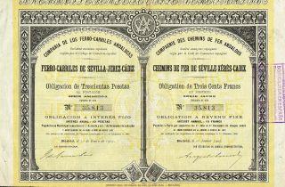 Spain Sevilla - Jerez - Cadiz Railway Company Stock Certificate 1907 W/coupons photo