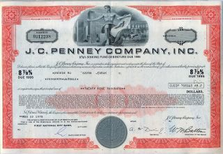 J.  C Penny Company Inc.  Bond Stock Certificate Jc Jcp photo