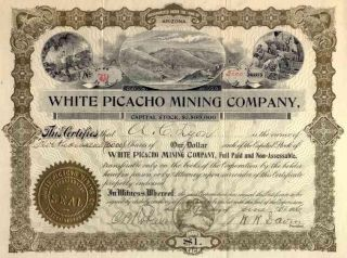 1906 White Picacho Mining Stock Certificate photo
