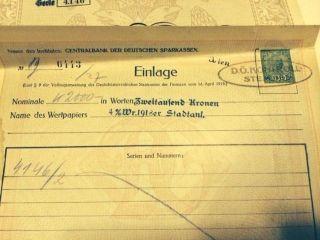 1919 Austria Austrian 2000 Schuldverschreibung Bond Share Loan Stock + More photo