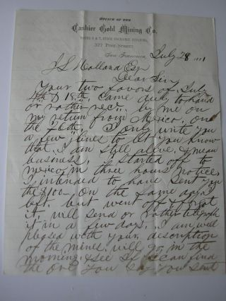 1881 Cashier Gold Mining Co San Francisco Letter On Mines And Mexico photo