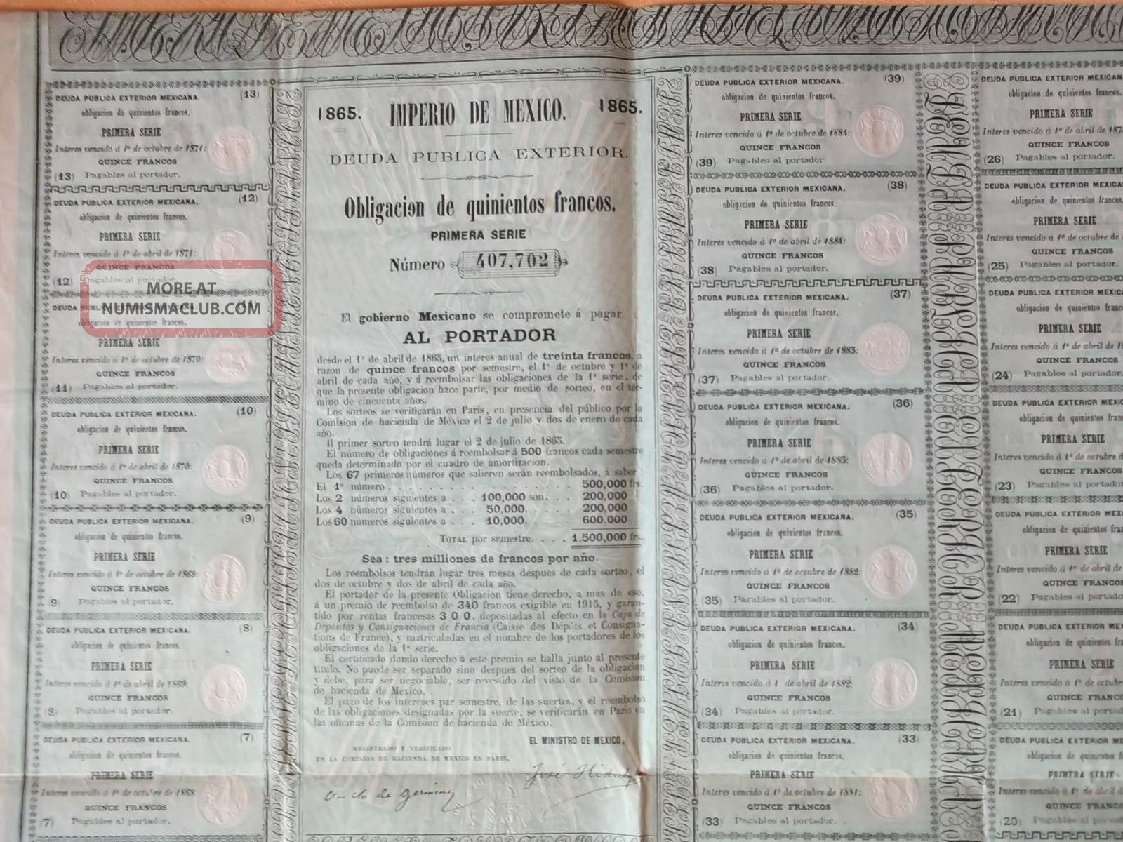 Very Rare Maximilian 1865 Bond Uncancelled Imperio De Mexico World photo
