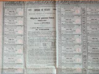 Very Rare Maximilian 1865 Bond Uncancelled Imperio De Mexico photo