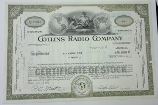 Collins Radio Co 1970 20 Shares Certificate Olive Cedar Rapids Iowa photo