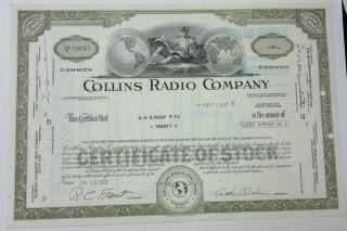 Collins Radio Co 1970 20 Shares Certificate Olive Cedar Rapids Iowa photo