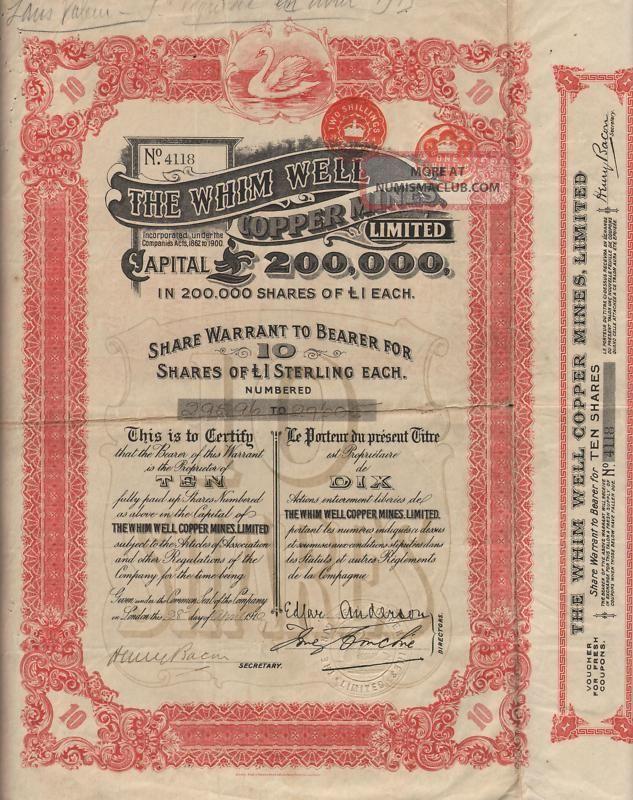Australia Whim Well Copper Mines Stock Certificate 1910 World photo