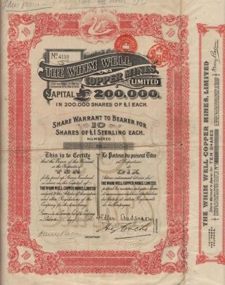 Australia Whim Well Copper Mines Stock Certificate 1910 photo