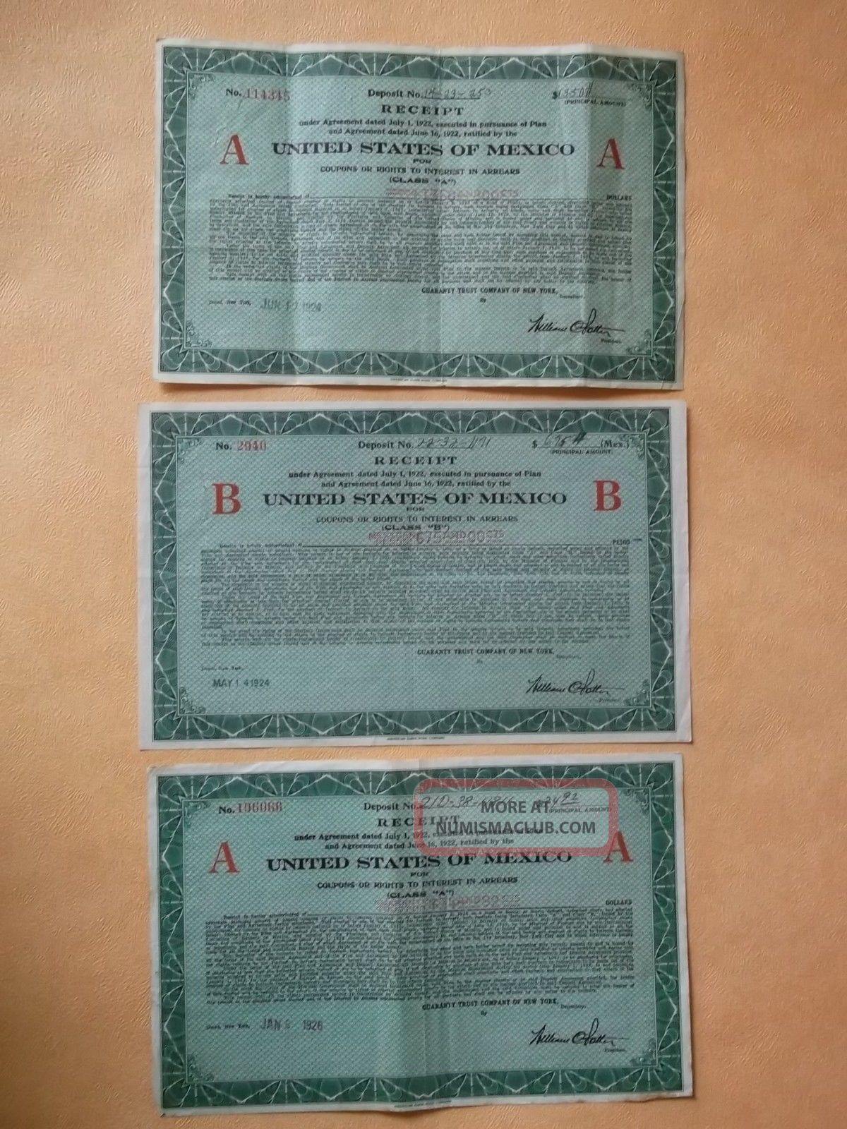 Mexico 3 X Receipt $34,  $675,  $1350 Guaranty Trust Cy Of N.  York World photo
