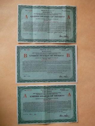Mexico 3 X Receipt $34,  $675,  $1350 Guaranty Trust Cy Of N.  York photo