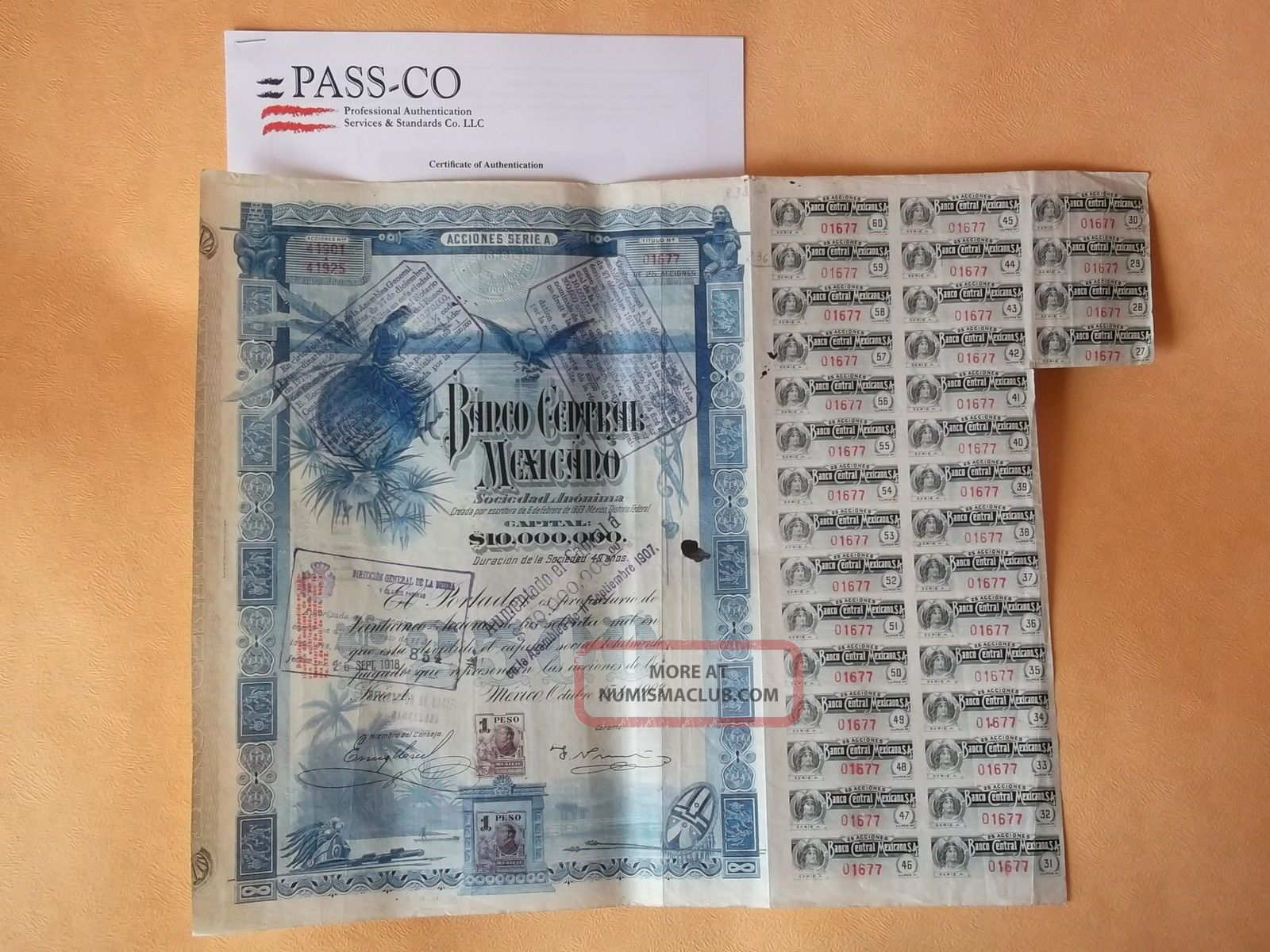 Banco Central $2500 1903 With Pass - Co Blueberry Bond World photo