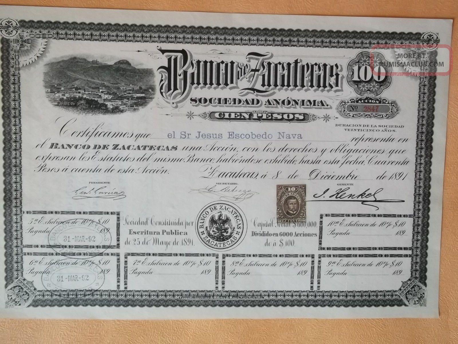 Mexico Banco De Zacatecas $100 World photo
