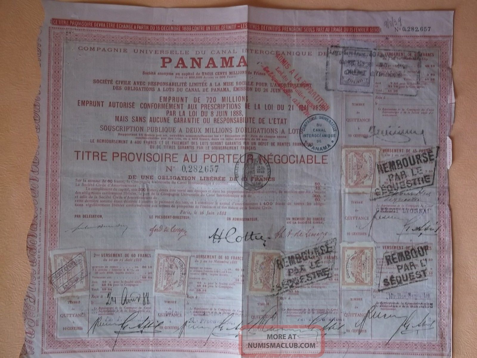 Canal De Panama 1888 Bond With Stamps World photo