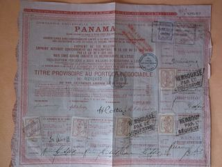 Canal De Panama 1888 Bond With Stamps photo