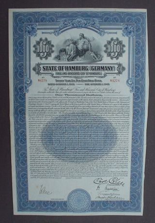 German Government State Of Hamburg 6% Gold Bond 1000 Us$ 1926 Uncanc + Coupons photo