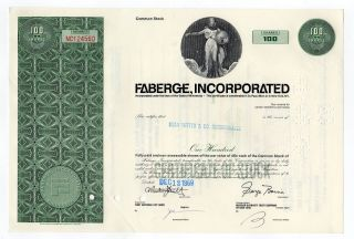 Faberge,  Inc Stock Certificate photo