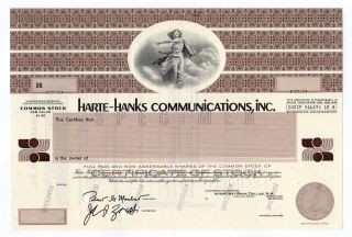 Specimen - Harte - Hanks Newspapers,  Inc.  Stock Certificate photo