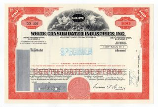 Specimen - White Consolidated Industries,  Inc.  Stock Certificate photo