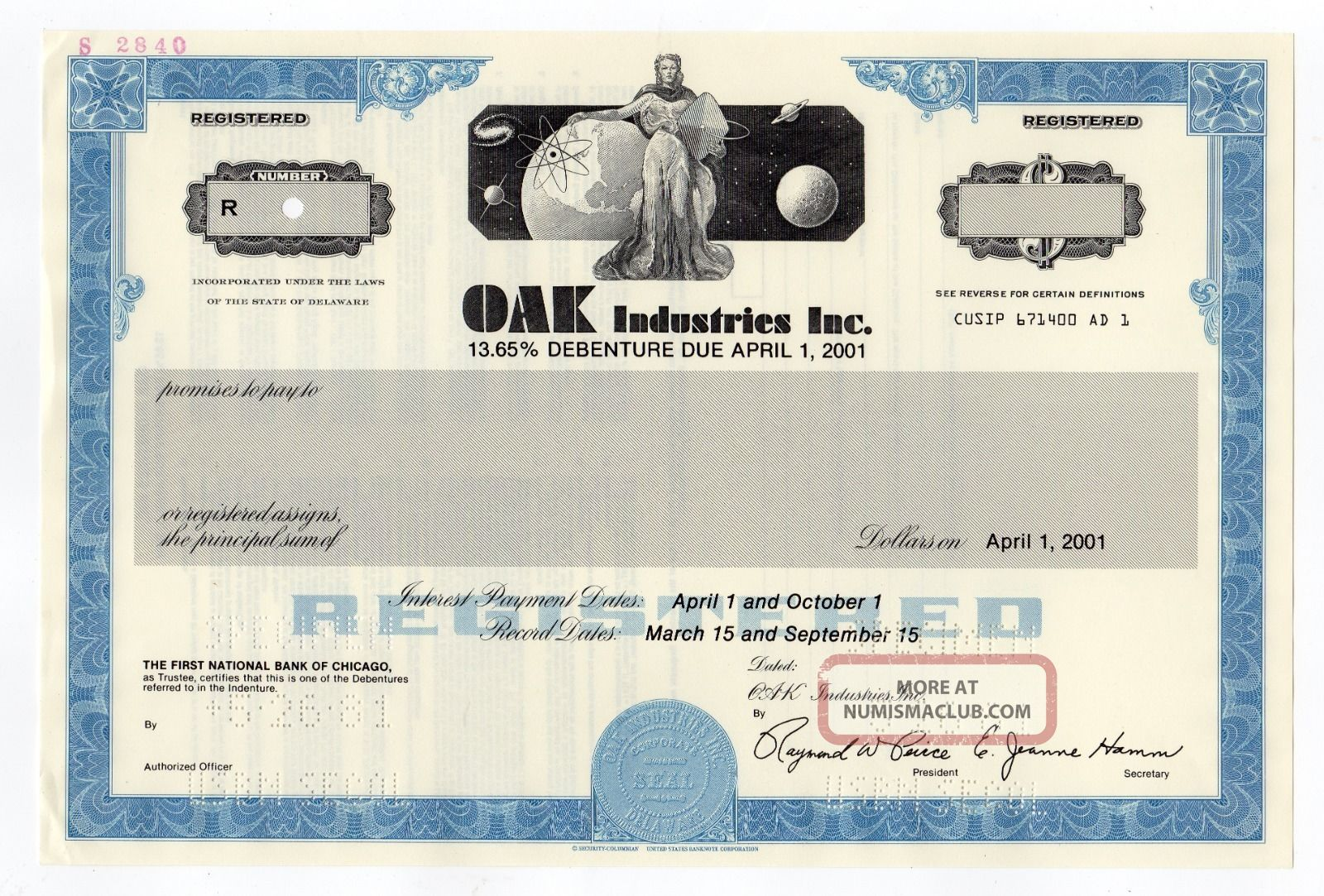 Specimen - Oak Industries,  Inc.  Stock Certificate Stocks & Bonds, Scripophily photo