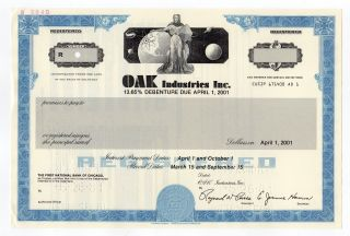 Specimen - Oak Industries,  Inc.  Stock Certificate photo