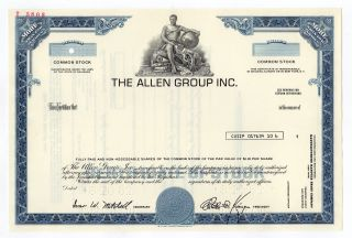 Specimen - The Allen Group,  Inc.  Stock Certificate photo