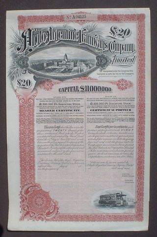 Anglo Argentine Tramways Company 20 P.  Sterling 1910 Uncanc.  + 4 Coupon Sheets photo