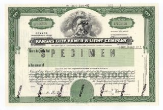 Specimen - Kansas City Power & Light Company Stock Certificate photo