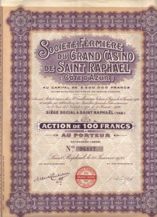 France 1926 Fermiere Grand Casino Saint Raphael Company 100 Fr Coup Uncancelled photo