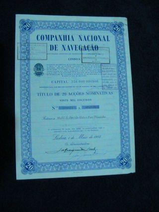 National Company The Navigation - Twenty Share Certified 1968 photo
