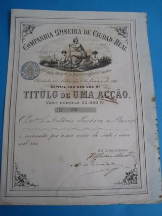 Mining Company Cidade - Real - One Share Certified 1889 photo