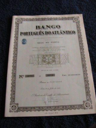 Portuguese Bank Atlantic - Ten Share Certified 1963 photo