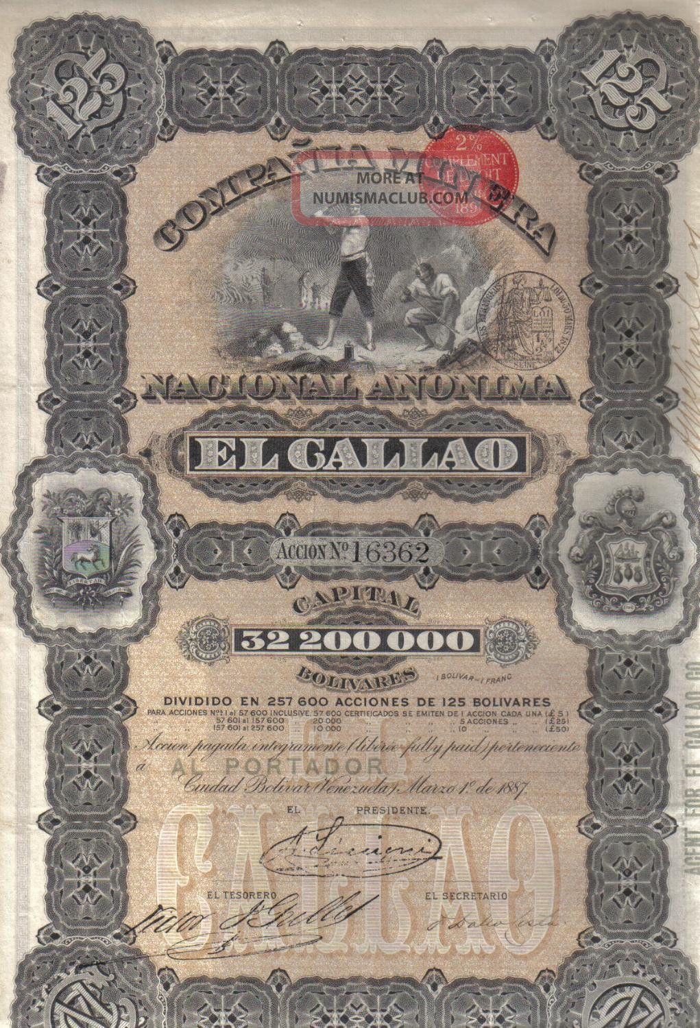 Venezuela 1887 State Mining Gallao Co 1 Share 125 Boliv £5 Uncancelled Coup Deco World photo