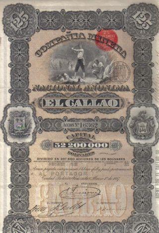 Venezuela 1887 State Mining Gallao Co 1 Share 125 Boliv £5 Uncancelled Coup Deco photo