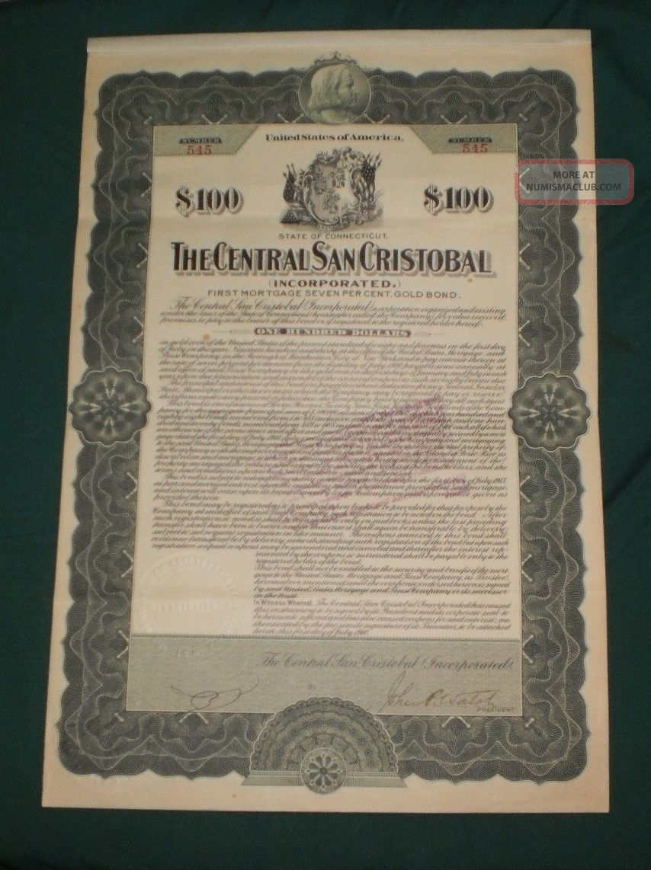 Puerto Rico - The Central San Cristobal $100 Gold Bond 191 World photo
