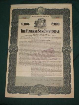 Puerto Rico - The Central San Cristobal $100 Gold Bond 191 photo
