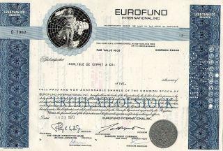 Classic Engraved: 1967 Canceled Stock Certificate Eurofund International,  Inc. photo