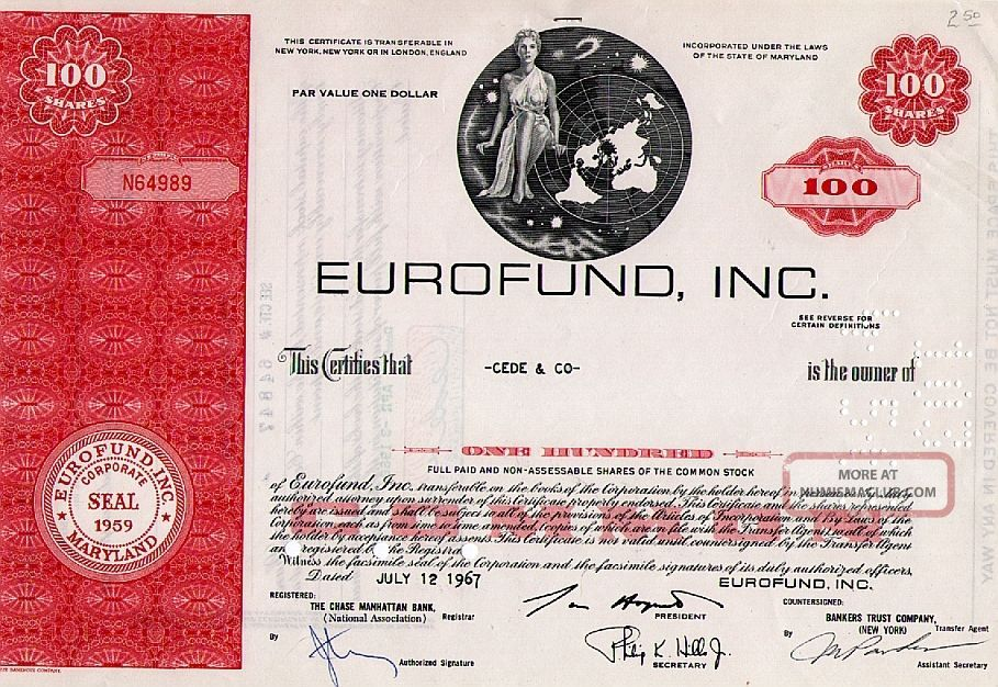 Classic Engraved: Old (1967) Canceled Stock Certificate Eurofund,  Inc. World photo