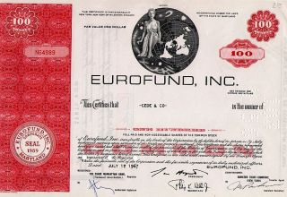 Classic Engraved: Old (1967) Canceled Stock Certificate Eurofund,  Inc. photo